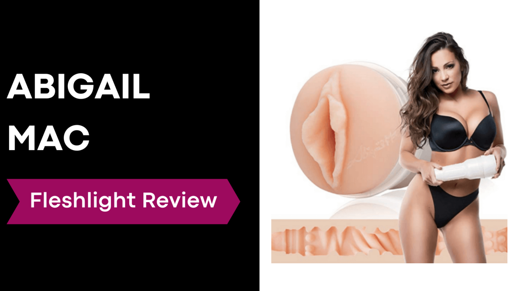 review banner with Abigail Mac holding fleshlight