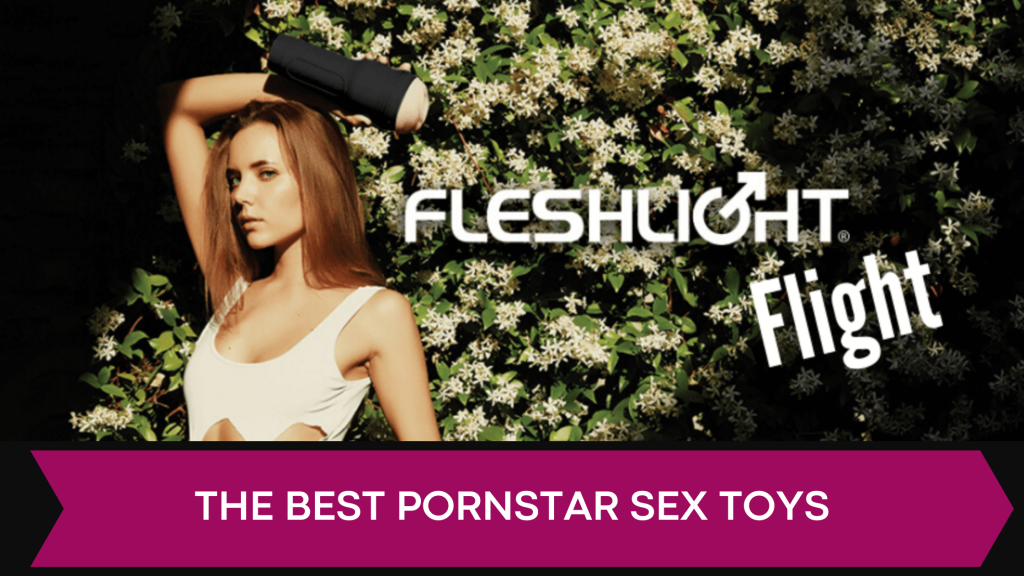 banner with women holding fleshlight & nature background