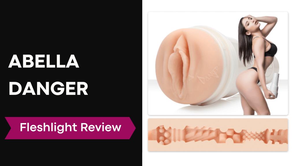 review banner with Abella Danger holding fleshlight