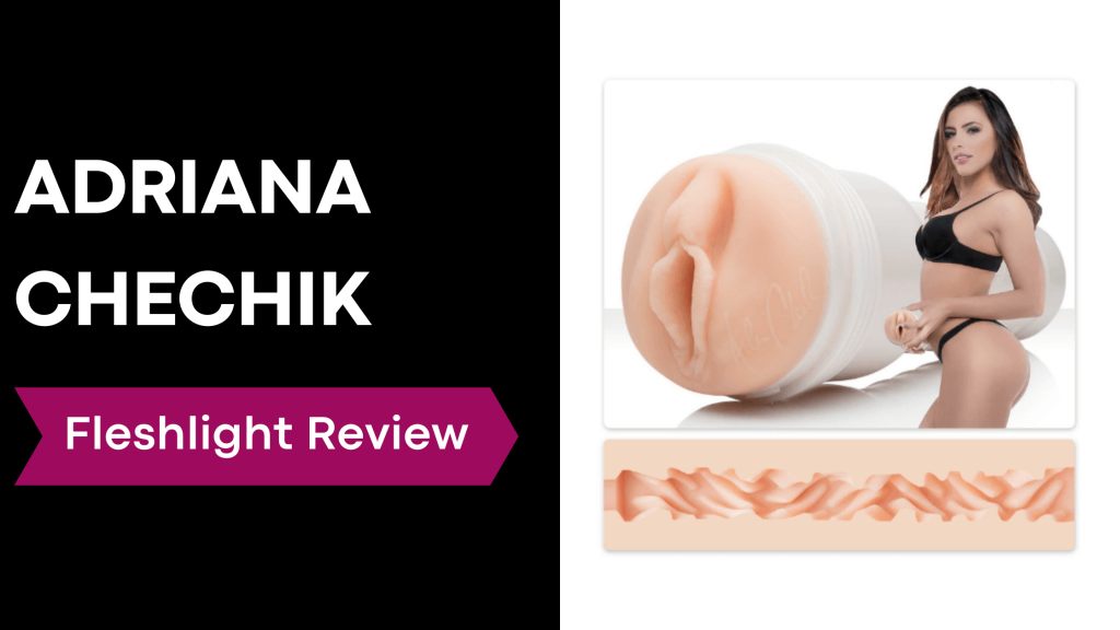 review banner with Adriana Chechik holding fleshlight