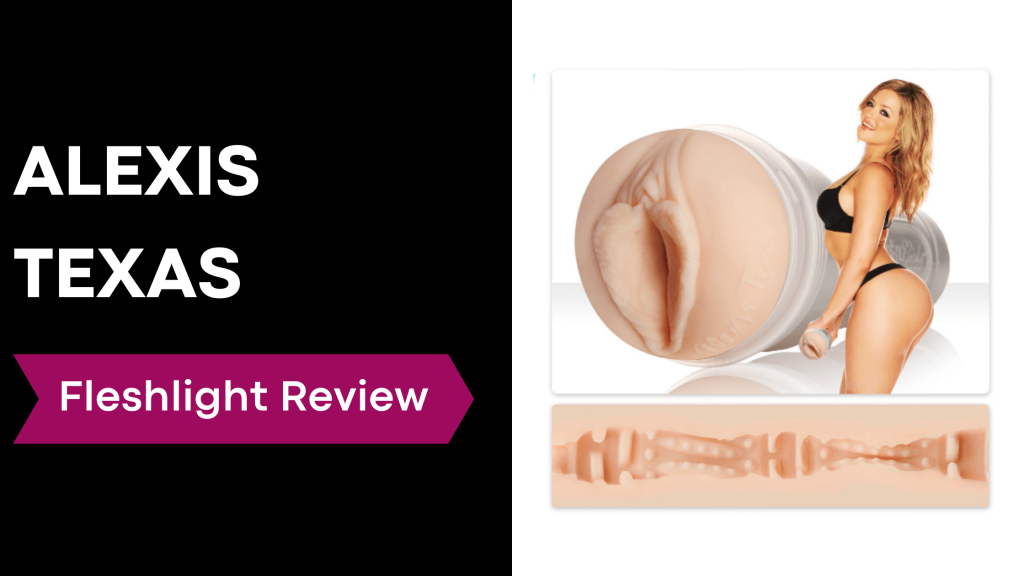 review banner with Alexis Texas holding fleshlight