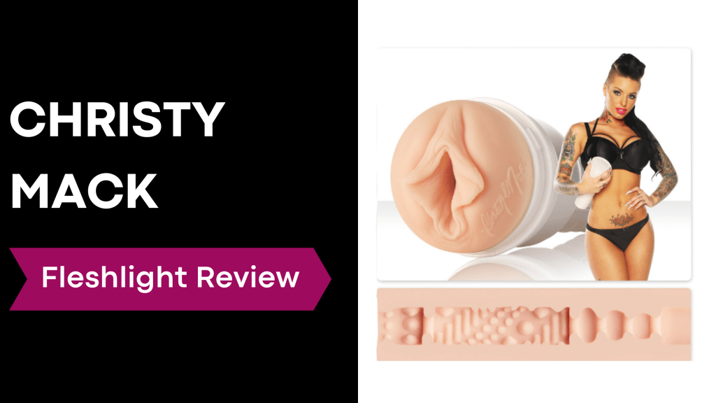 review banner with Christy Mack holding fleshlight
