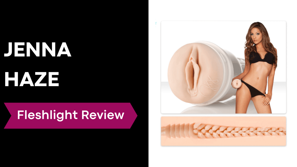 review banner with Jenna Haze holding fleshlight