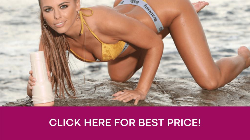 best price banner with Adriana Chechik holding fleshlight on beach